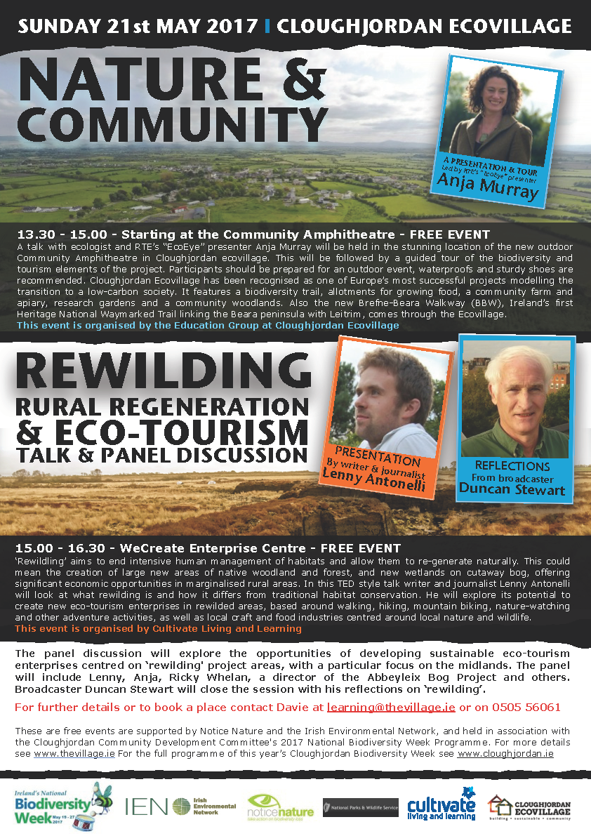 NATURE & COMMUNITY 1.30pm | REWILDING 3.00pm  – SUNDAY 21st MAY 2017 (free event)